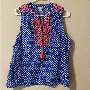 Jcrew embroidered tank blue and white size 10